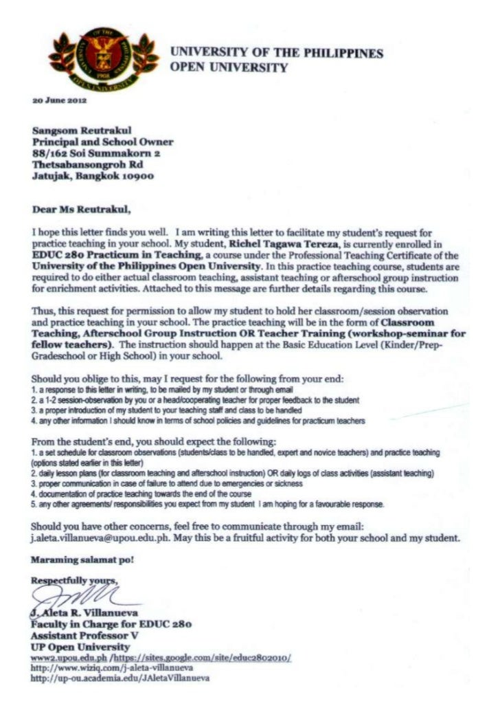 sample cover letter for practicum - request letter re