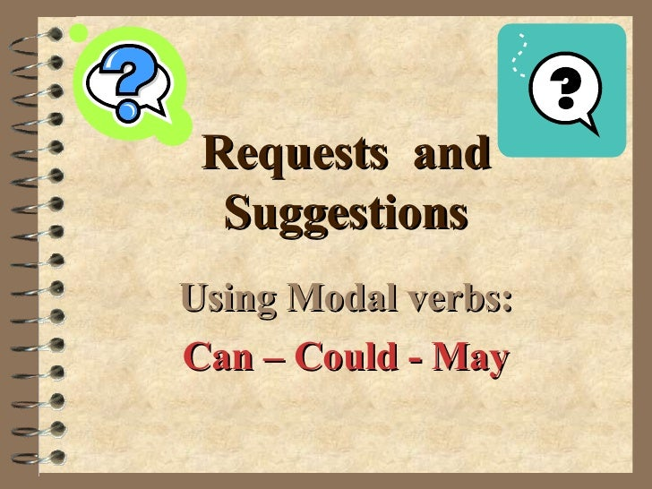 Requests  and Suggestions Using Modal verbs: Can – Could - May