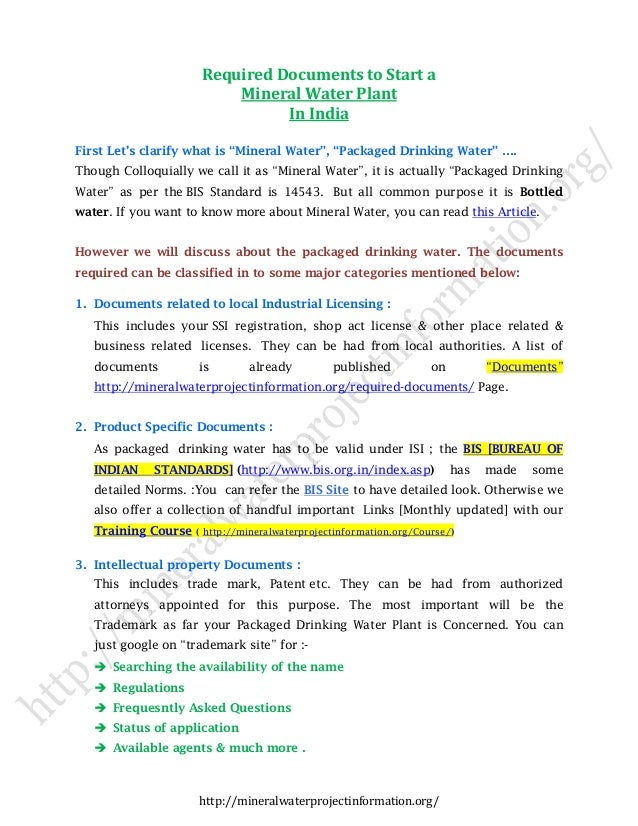 How To Start Mineral Water Plant in India – Business Plan
