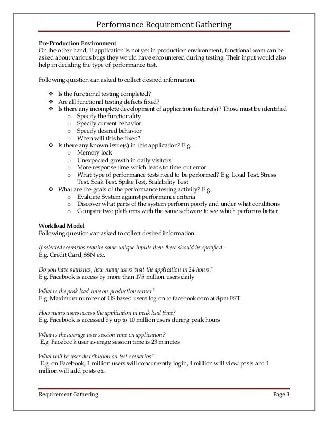Performance Requirement Gathering - Requirement gathering document sample