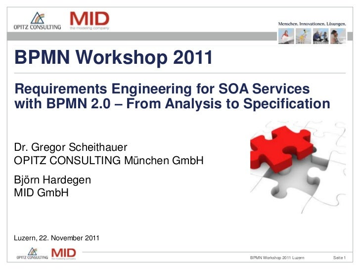 BPMN Workshop 2011Requirements Engineering for SOA Serviceswith BPMN 2.0 – From Analysis to SpecificationDr. Gregor Scheit...