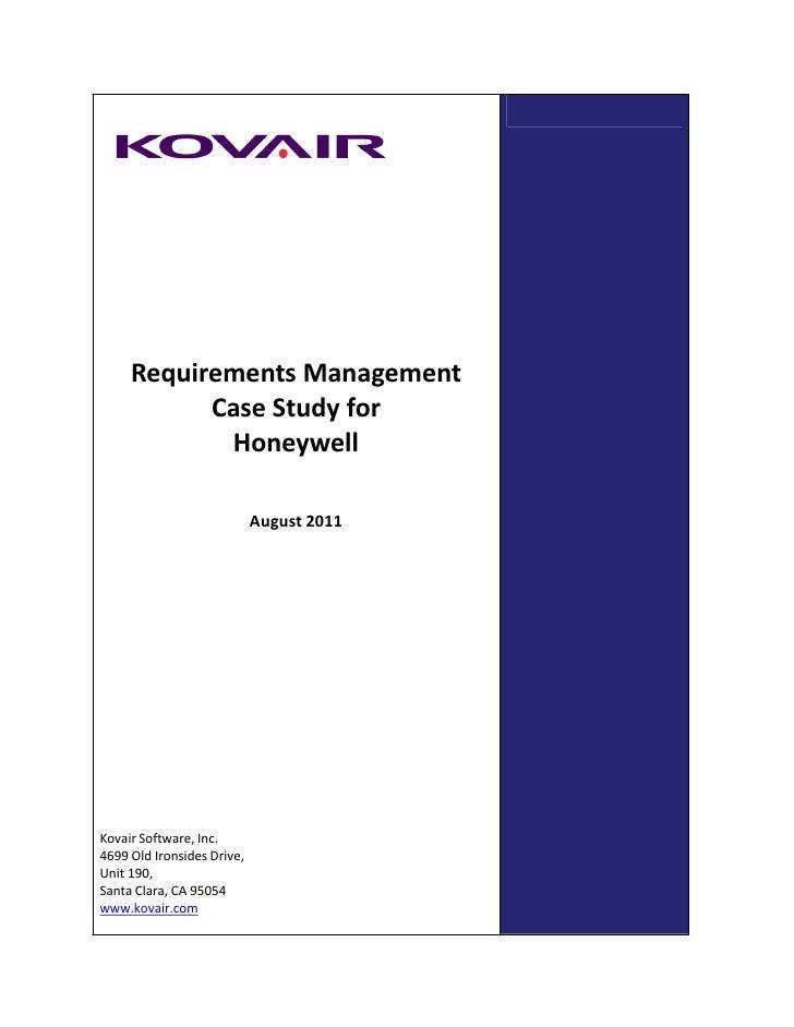 Requirements Management           Case Study for            Honeywell                            August 2011Kovair Softwar...