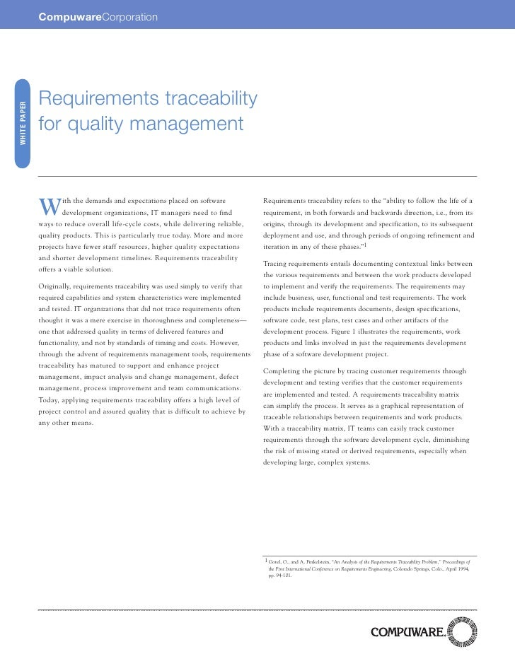 CompuwareCorporation                   Requirements traceability WHITE PAPER                   for quality management     ...