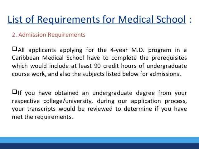 requirements for medical school