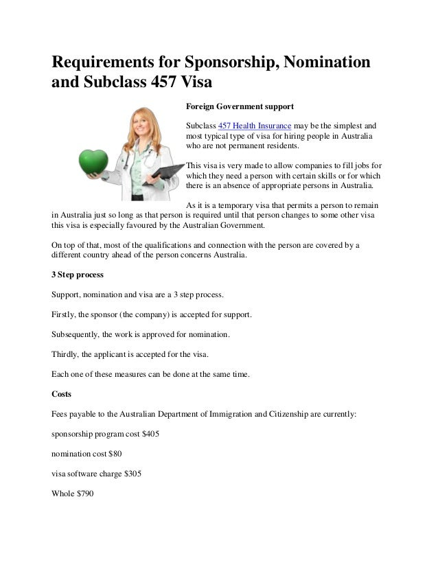 Requirements for Sponsorship, Nominationand Subclass 457 Visa                                         Foreign Government s...