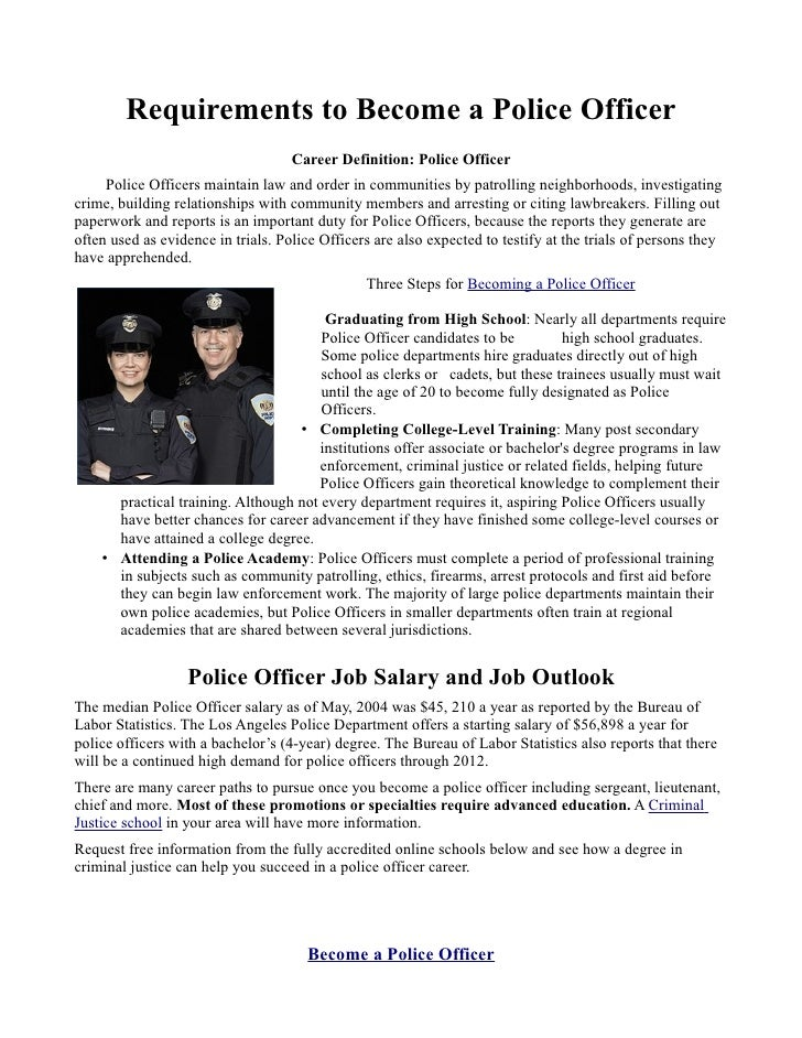 Requirements to become a police officer - How to apply to become a police officer ...