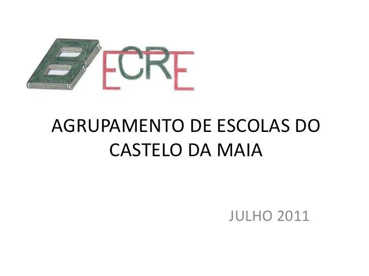 AGRUPAMENTO DE ESCOLAS DO CASTELO DA MAIA<br />JULHO 2011<br />