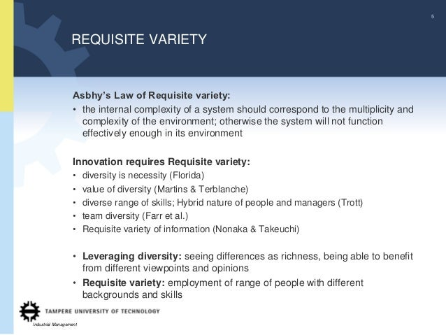 5                  REQUISITE VARIETY                   Asbhy's Law of Requisite variety:                   • the internal ...