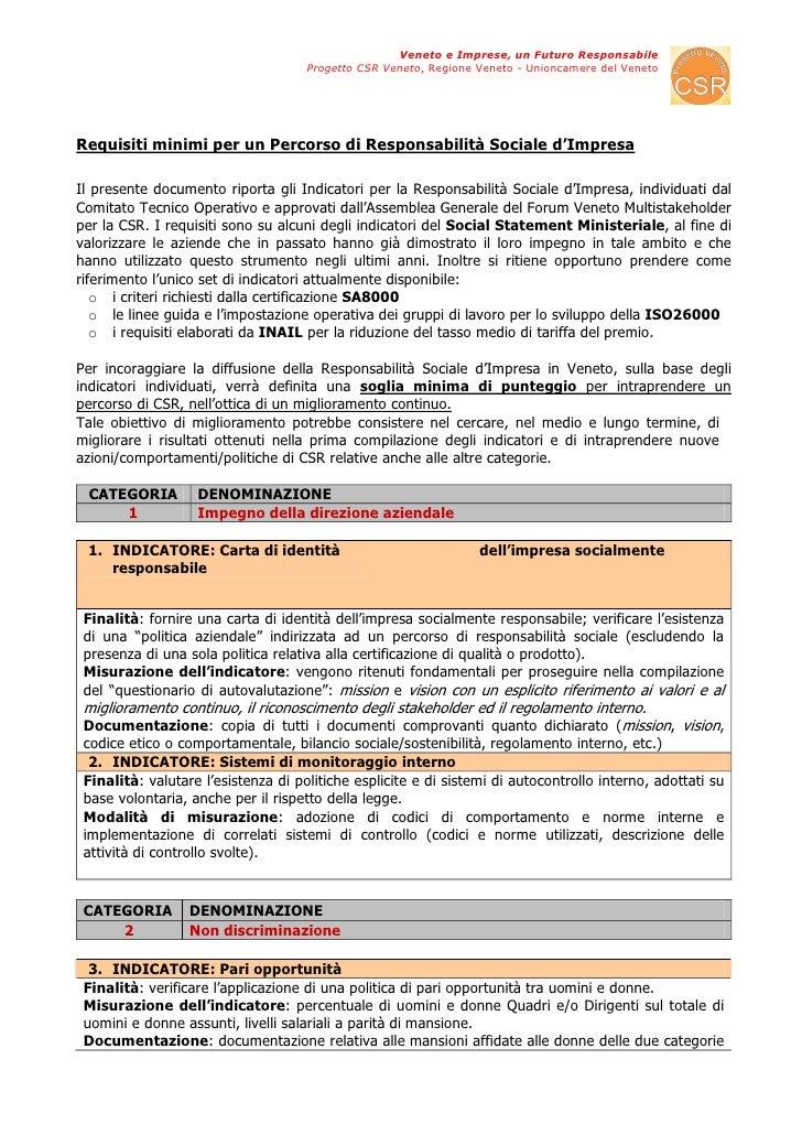 Veneto e Imprese, un Futuro Responsabile                                      Progetto CSR Veneto, Regione Veneto - Unionc...
