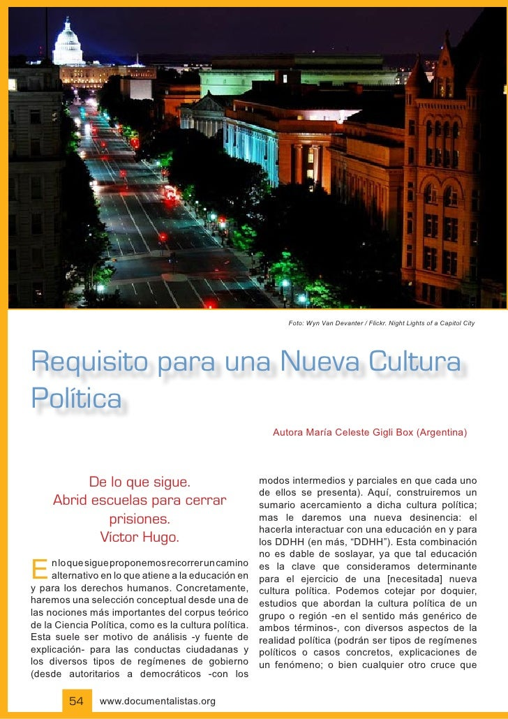 Foto: Wyn Van Devanter / Flickr. Night Lights of a Capitol City     Requisito para una Nueva Cultura Política             ...