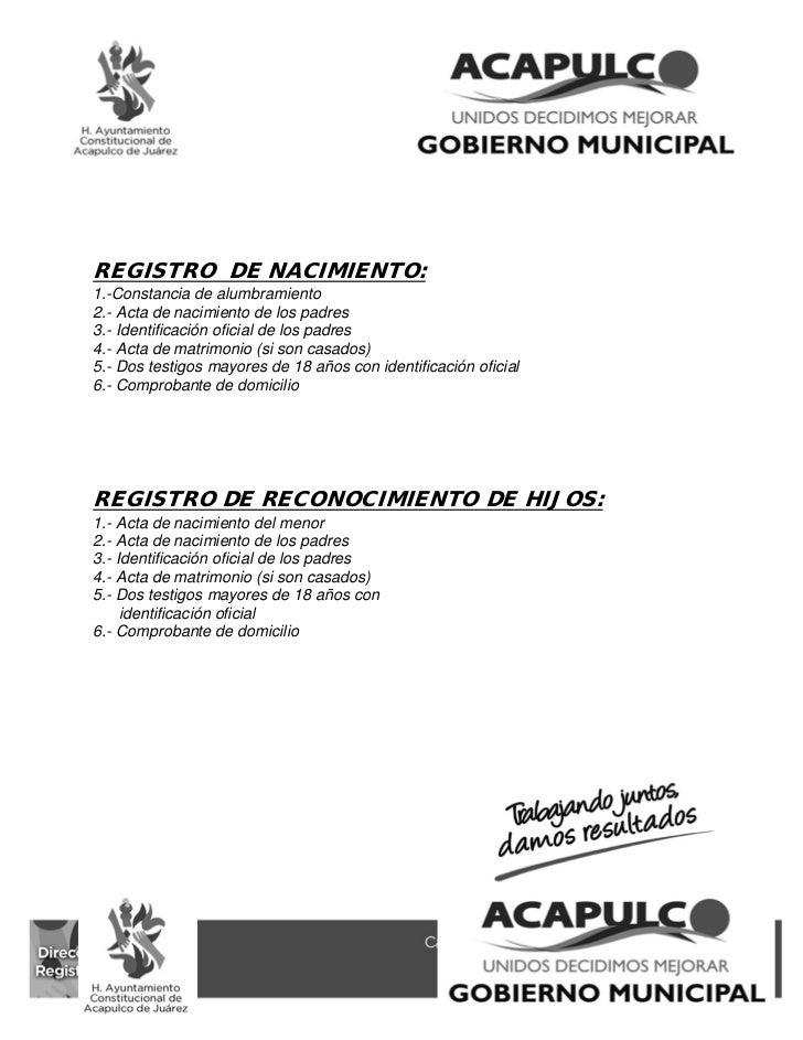 Requisitos Actos Y Procedimientos De Registro Civil Acapulco 2011