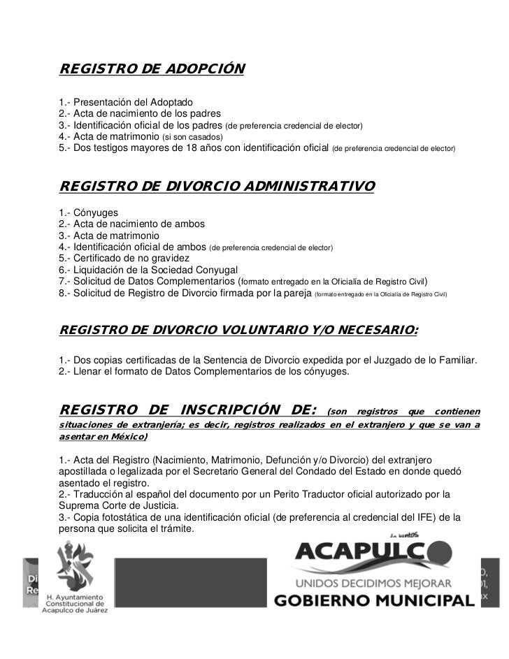 Requisitos actos y procedimientos de registro civil acapulco 2011 - Requisitos para casarse ...
