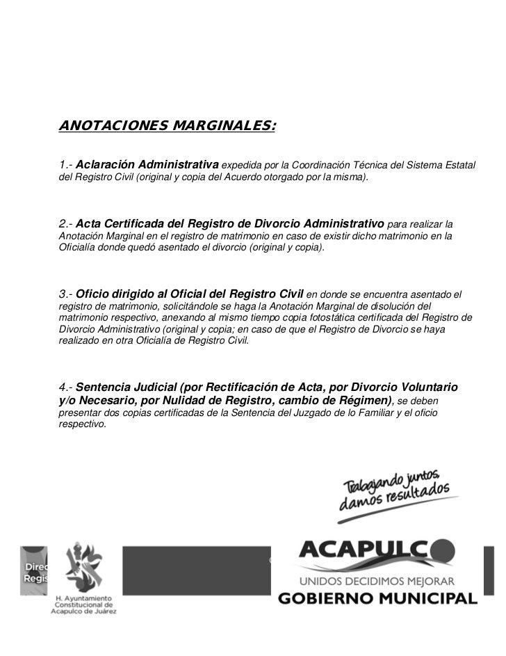 Requisitos actos y procedimientos de registro civil acapulco 2011 - Tramites para casarse por lo civil ...