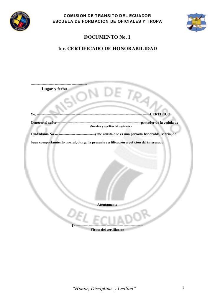 COMISION DE TRANSITO DEL ECUADOR                  ESCUELA DE FORMACION DE OFICIALES Y TROPA                               ...