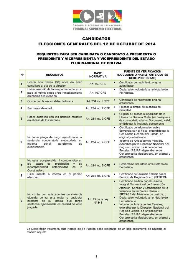 1 CANDIDATOS ELECCIONES GENERALES DEL 12 DE OCTUBRE DE 2014 REQUISITOS PARA SER CANDIDATA O CANDIDATO A PRESIDENTA O PRESI...