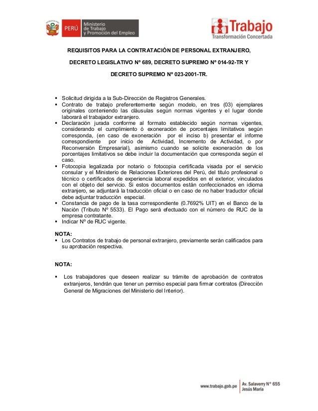 REQUISITOS PARA LA CONTRATACIÓN DE PERSONAL EXTRANJERO, DECRETO LEGISLATIVO Nº 689, DECRETO SUPREMO Nº 014-92-TR Y DECRETO...