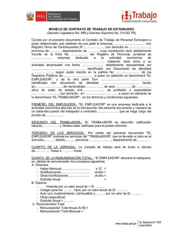 Requisitos Contratacion Extranjeros En Per