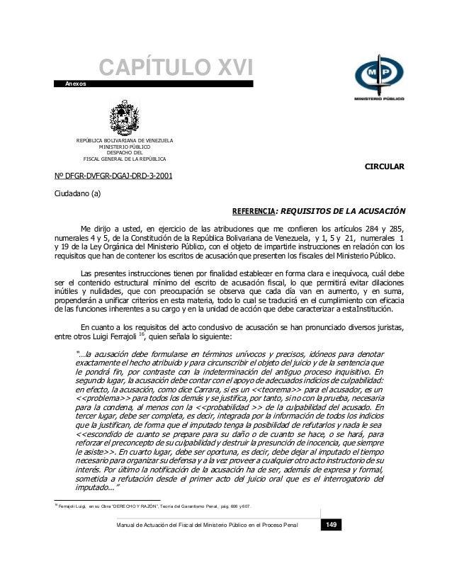 CAPÍTULO XVI Anexos REPÚBLICA BOLIVARIANA DE VENEZUELA MINISTERIO PÚBLICO DESPACHO DEL FISCAL GENERAL DE LA REPÚBLICA Nº D...