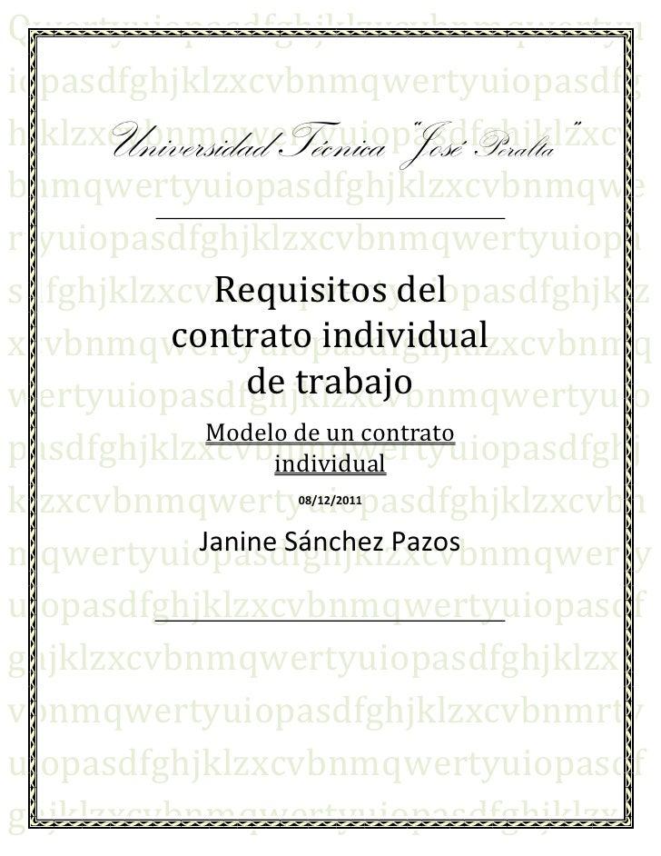 Requisitos del contrato individual de trabajo Contrato trabajo