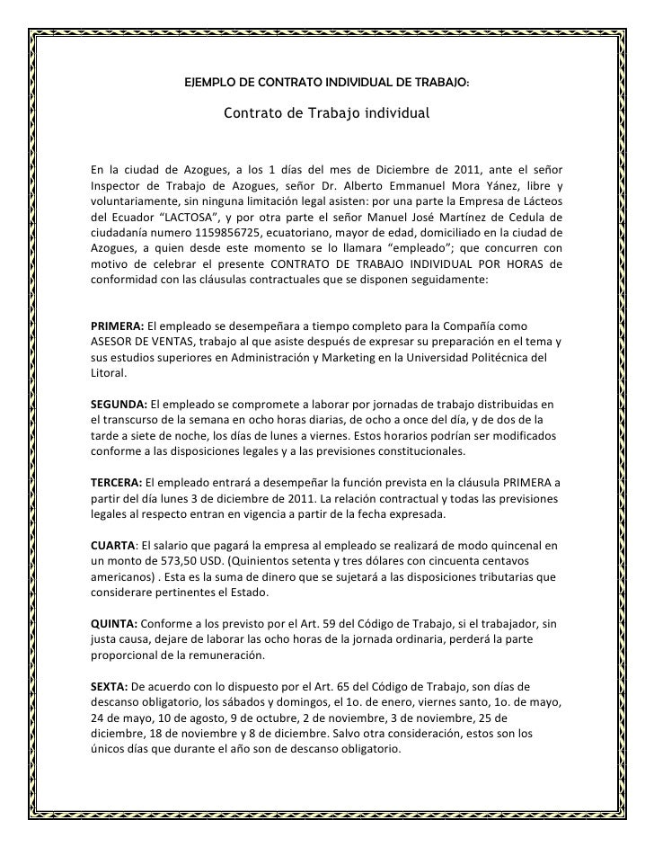 Requisitos Del Contrato Individual De Trabajo