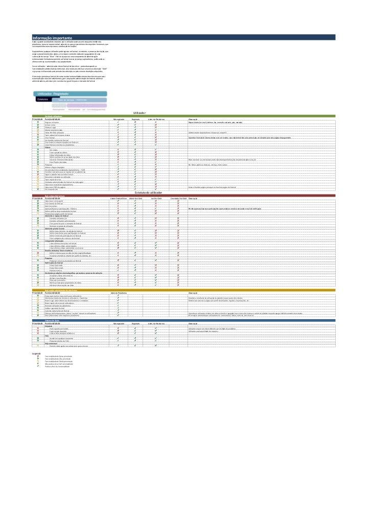 Informação importanteDada a grande variedade de estatutos que o utilizador pode assumir enquanto membro daplataforma, torn...