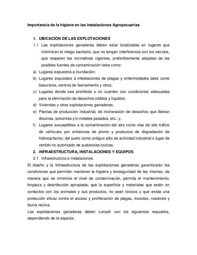 Importancia de la higiene en las instalaciones Agropecuarias   1. UBICACIÓN DE LAS EXPLOTACIONES   1.1 Las explotaciones g...