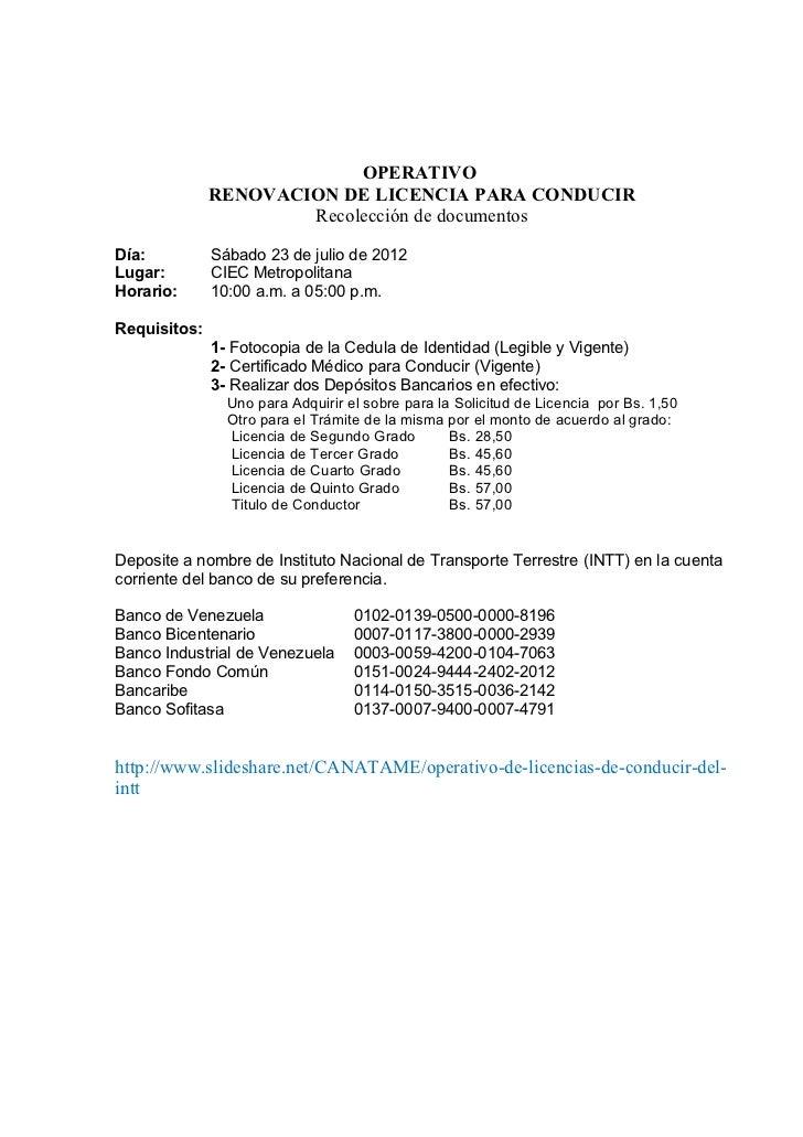 OPERATIVO              RENOVACION DE LICENCIA PARA CONDUCIR                      Recolección de documentosDía:          Sá...