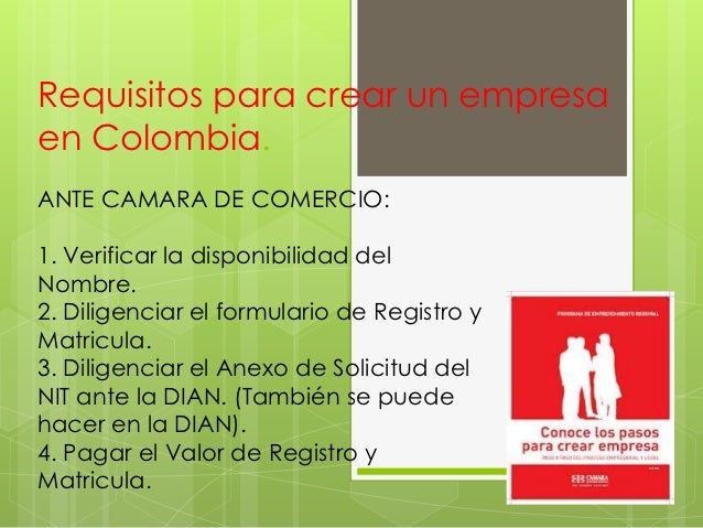 requisitos para crear un empresa en colombia