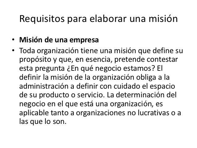Requisitos para elaborar una misión y visión de Slide 2