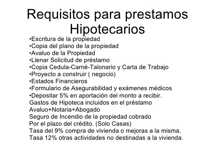Requisitos para prestamos hipotecarios ecuador - Requisitos para construir una casa ...