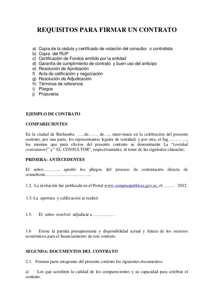 Requisitos para suscribir un contrato