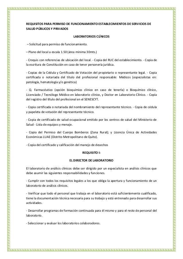 Requisitos para un laboratorio clinico