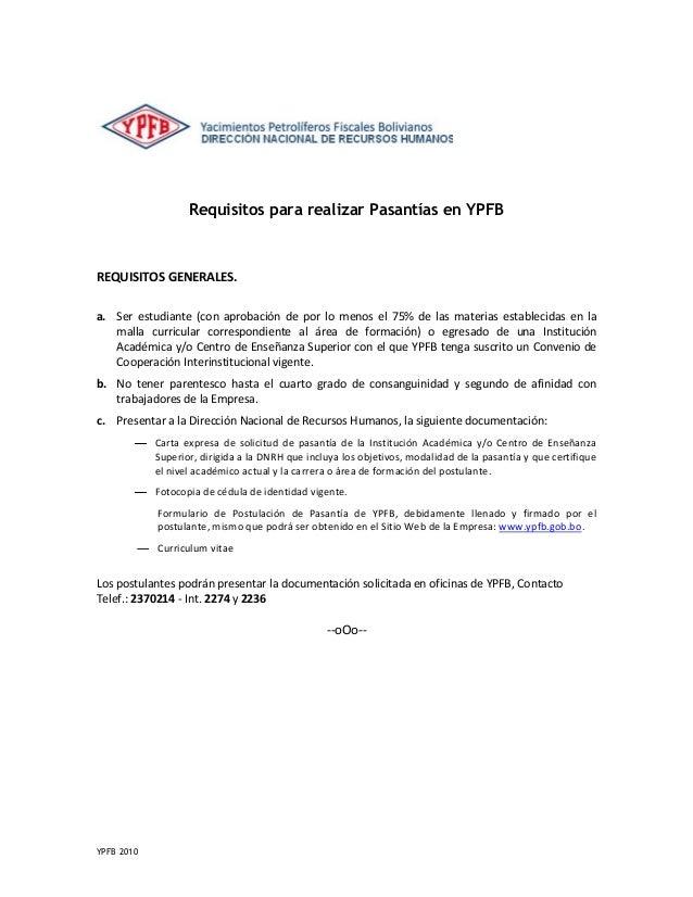 curriculum vitae ypfb