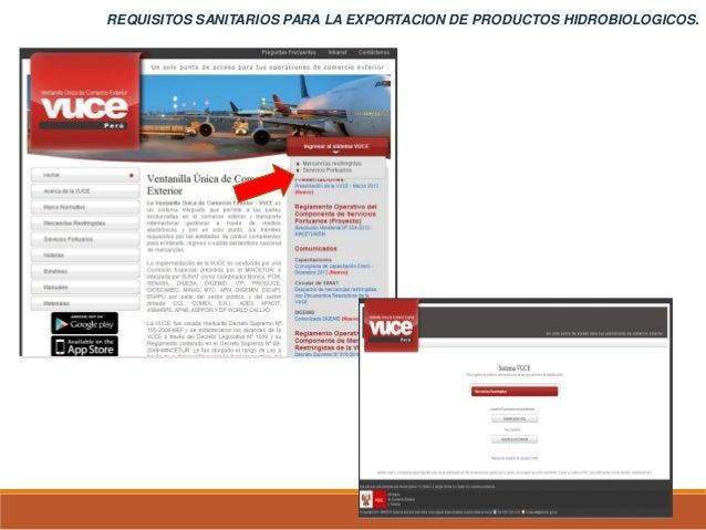 REQUISITOS SANITARIOS PARA LA EXPORTACION DE PRODUCTOS HIDROBIOLOGICOS.