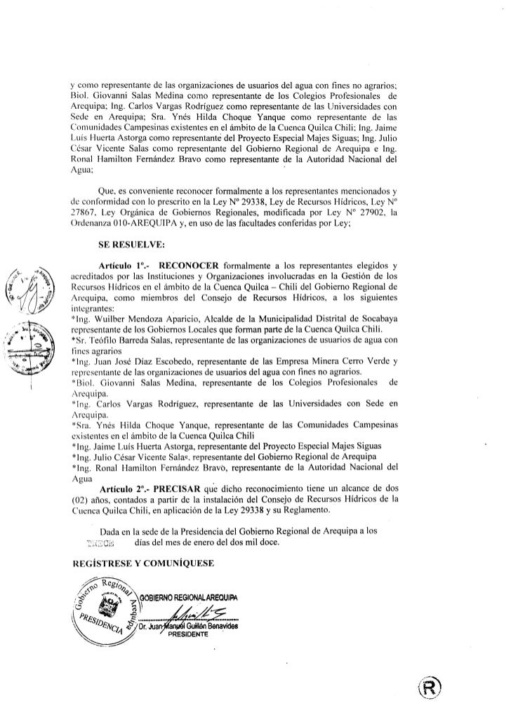 ycomo representante de las organizaciones de usuarios del agua con fines no agrarios;Biol. Giovanni Salas Medina como repr...