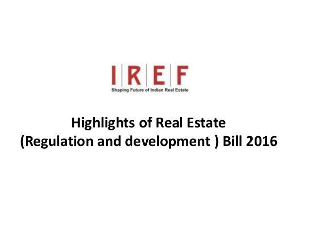 Trainings by Vidya Bhagwat Highlights of Real Estate (Regulation and development ) Bill 2016