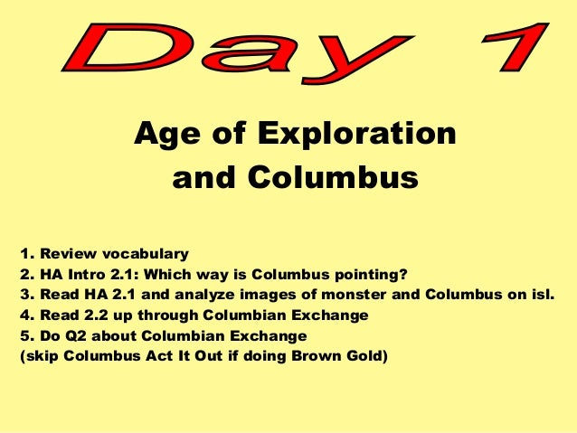 Ch 19 Age Of Exploration Slides: Exploration Act It Out Ch 2 Ha2013