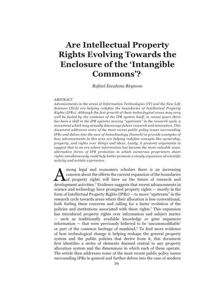 Are  Intellectual  Property     Rights  Evolving  Towards  the     Enclosure  of  the  'Intangible              Commons'? ...
