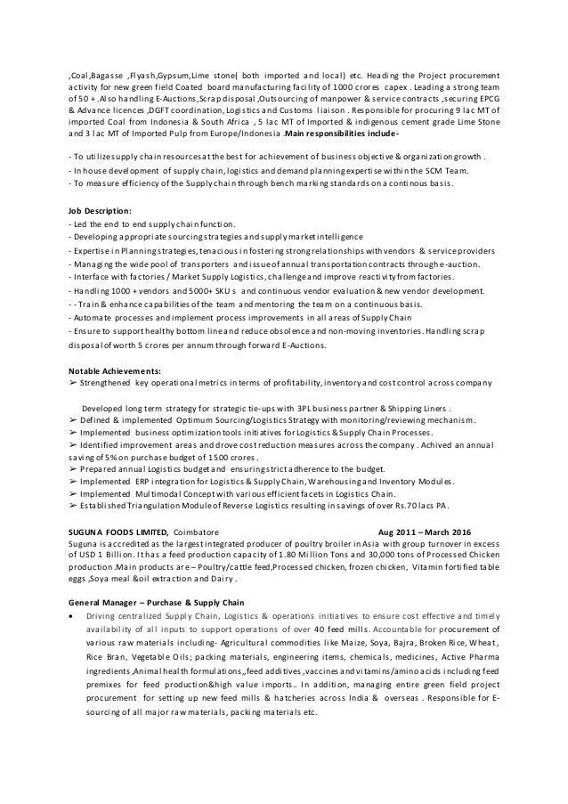 Expert Senior Supply Chain Management Professional – Supply Chain Management Job Description