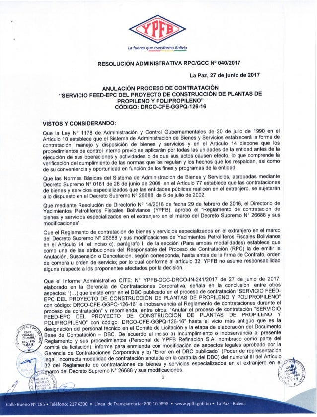 La fuerza que transforma Bolivia RESOLUCION ADMINISTRATIVA RPC/GCC NO O4O/2017 LaPaz,27 dejunio de 2017 ANULACION PROCESO ...