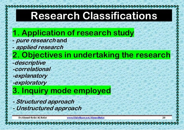 Research Classifications 1. Application of research study - pure research and - applied research  2. Objectives in underta...