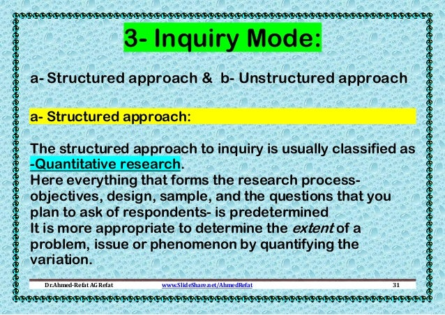 3- Inquiry Mode: a- Structured approach & b- Unstructured approach a- Structured approach: The structured approach to inqu...
