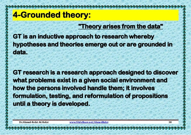 """4-Grounded theory: """"Theory arises from the data"""" GT is an inductive approach to research whereby hypotheses and theories e..."""
