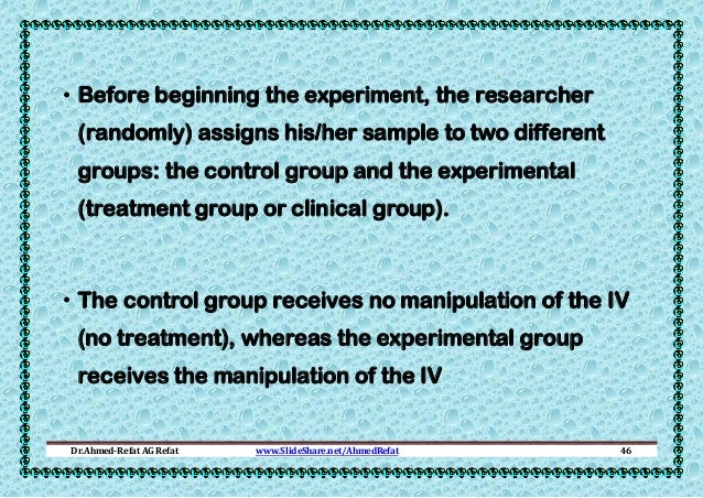 • Before beginning the experiment, the researcher (randomly) assigns his/her sample to two different groups: the control g...