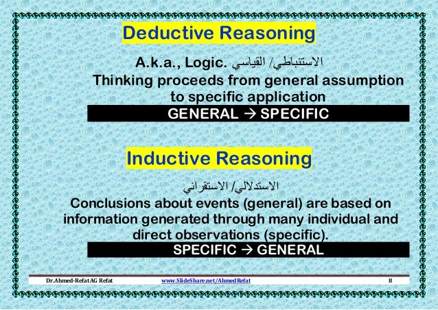 Deductive Reasoning A.k.a., Logic. االستنباطي/ القياسي Thinking proceeds from general assumption to specific application...