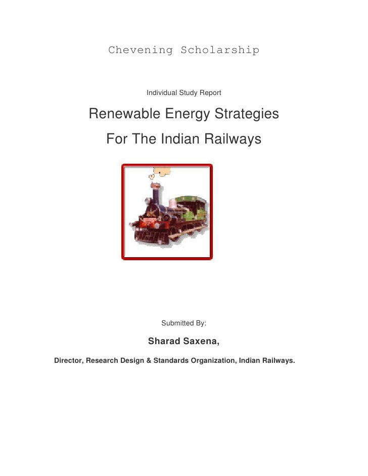 Chevening Scholarship                          Individual Study Report         Renewable Energy Strategies              Fo...
