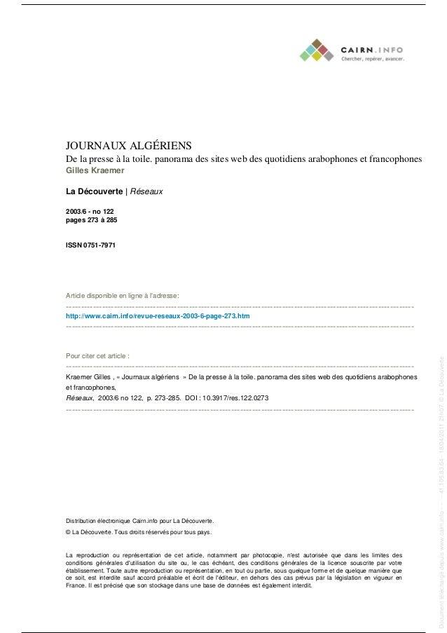 JOURNAUX ALGÉRIENS De la presse à la toile. panorama des sites web des quotidiens arabophones et francophones Gilles Kraem...