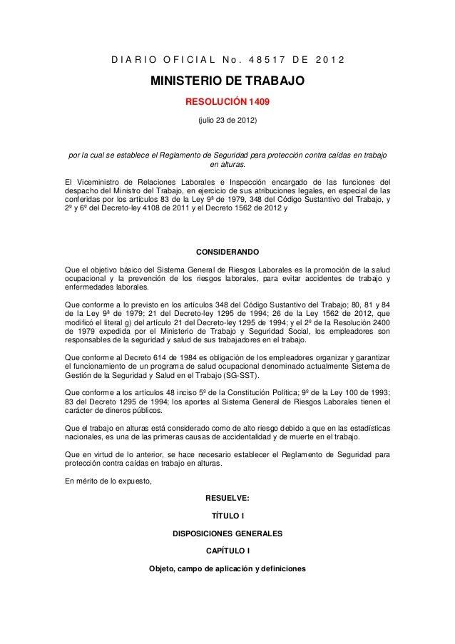 DIARIO OFICIAL No. 48517 DE 2012                         MINISTERIO DE TRABAJO                                    RESOLUCI...