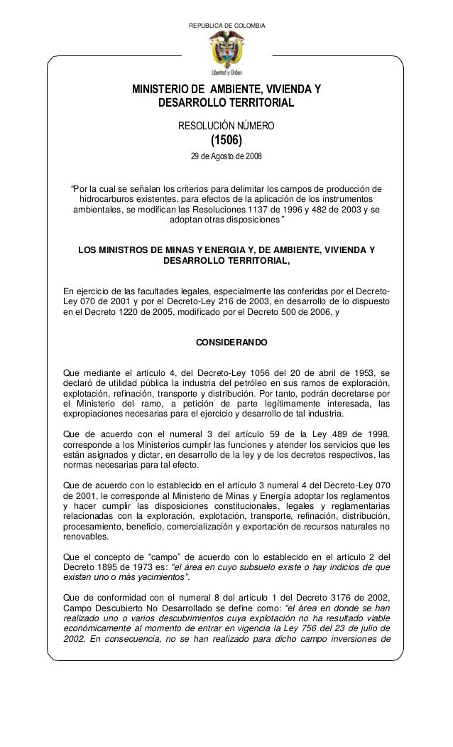"""REPÚBLICA DE COLOMBIAMINISTERIO DE AMBIENTE, VIVIENDA YDESARROLLO TERRITORIALRESOLUCIÓN NÚMERO(1506)29 de Agosto de 2008""""P..."""