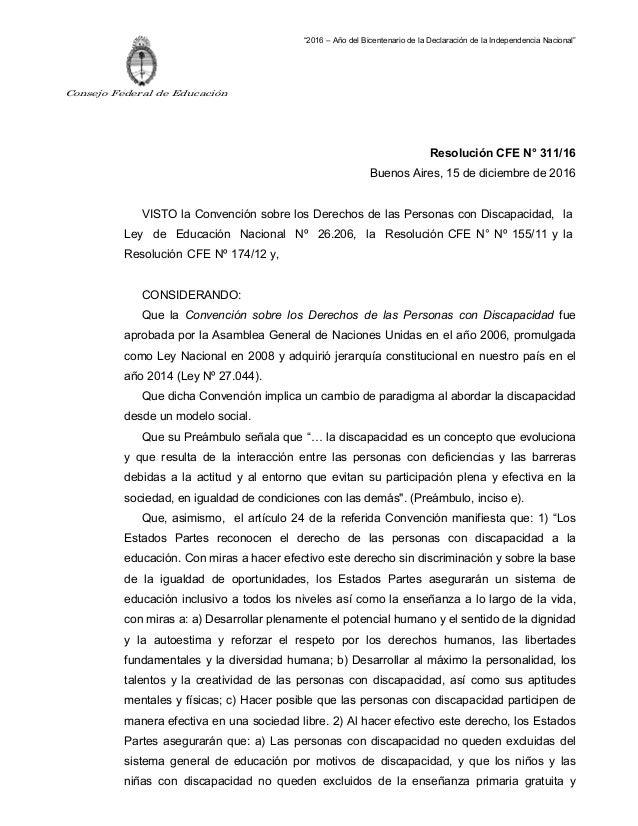 """Consejo Federal de Educación """"2016 – Año del Bicentenario de la Declaración de la Independencia Nacional"""" Resolución CFE N..."""
